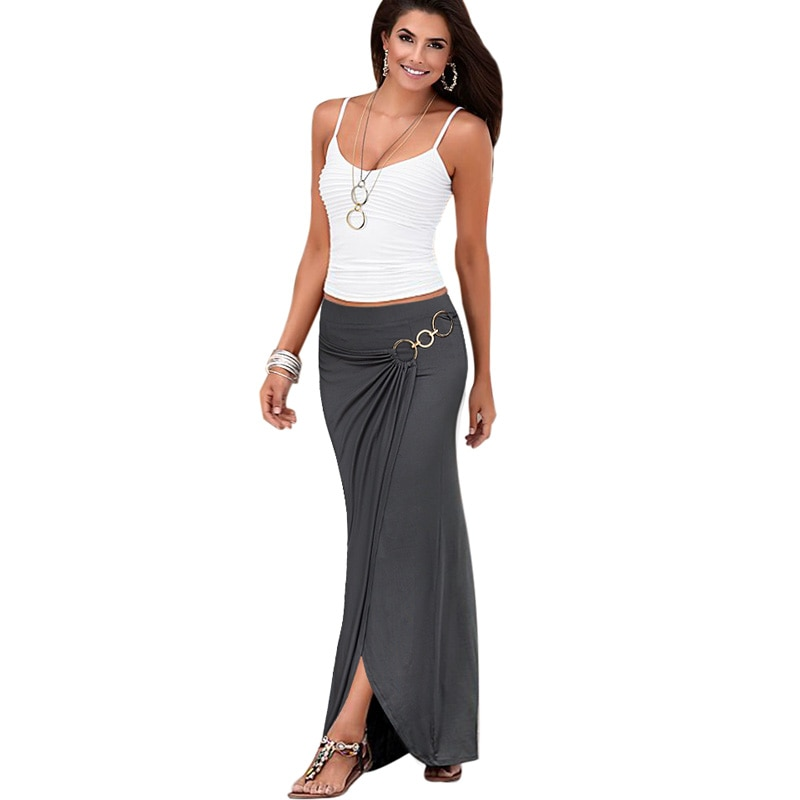 Womens Summer Elegant Vintage Casual Party Beach Fitted Long Skirt