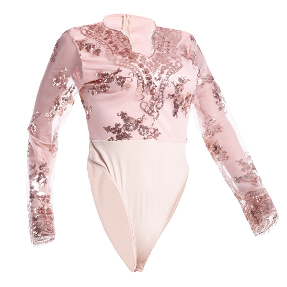 IDress 2018 Sexy Bodysuit Women Long Sleeve Mesh Bodysuit Beachwear Top V Neck Lace Sequined Bodysuit Rompers Women's Jumpsuit (16)